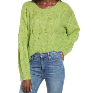 J.O.A. NWOT Oversized Pullover Sweater In Lime